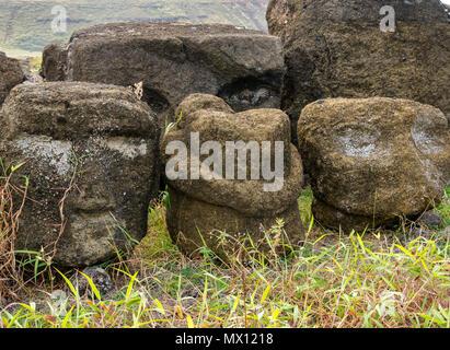 Remaining fallen stones at Tongariki Moai, largest reconstructed Ahu, Easter Island, Rapa Nui, Chile - Stock Photo