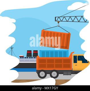 delivery service ship and truck containers with crane - Stock Photo