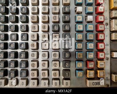 Close up vintage keyboard, old cash register. Antique Cash DataRegister. - Stock Photo