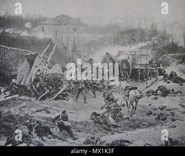 . English: scene from the battle of Champigny, print from a painting by Alphonse-Marie-Adolphe de Neuville. 27 February 2012. After painting by Alphonse-Marie-Adolphe de Neuville (1835-1885) 122 Champignybattle - Stock Photo