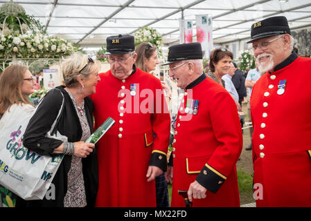 A visitor to the RHS Chelsea Flower Show in London , UK talks to some Chelsea Pensioners. - Stock Photo