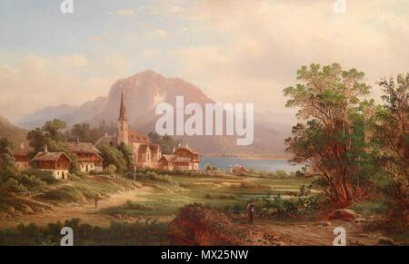 """. """"Blick auf Altausee, Steyermark"""", rückseitig betitelt, signiert, undeutlich datiert J. August (18)77?, Öl auf Leinwand, 44,5 x 70 cm . circa 1877 87 Blick auf Altaussee Steiermark - Stock Photo"""