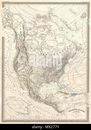 . Amerique du Nord.  English: A finely detailed large format 1857 map of the North America on Mercator's projection by the French cartographer A. H. Dufour. This map covers the entire continent from the Polar Ice Cap to the northern part of South America inclusive of the West Indies, Central America, Mexico, the United States, Canada and Alaska. In addition to standard political and physical data this map offers a vast wealth of cartographic information including nautical routes, currents, winds, notes on explorers, some offshore details, comments on the polar ice caps, notes on vegetation, an - Stock Photo