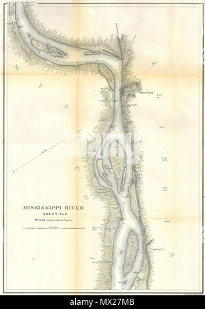 . MIssissippi River around Chester, Illinois.  English: This is a beautiful hand colored 1865 United States Costal Survey chart or map of a part of the Mississippi River around, Chester Illinois. Sheet six of a six sheet set depicting the Mississippi River from Cairo Illinois to St. Mary's Missouri. The bends in the river are named, as are the many river islands shown. Notes towns, wood lots, landings and farms, many of which are shown with family names. Produced under the supervision of A. D. Bache in 1865. Professionally rebacked and beautifully hand colored. . 1865 9 1865 U.S.C.S. Map of th - Stock Photo