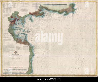 English A Rare 1877 Coastal Chart Of Boston Bay Boston Harbor And