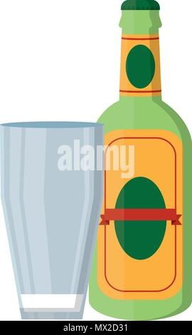 schnapps liquor bottle beverage with glass - Stock Photo