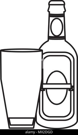 line schnapps liquor bottle beverage with glass - Stock Photo