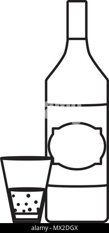 line schnapps liquor bottle and glass beverage - Stock Photo