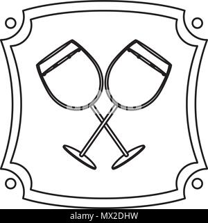 line liquor brandy glass beverage emblem - Stock Photo