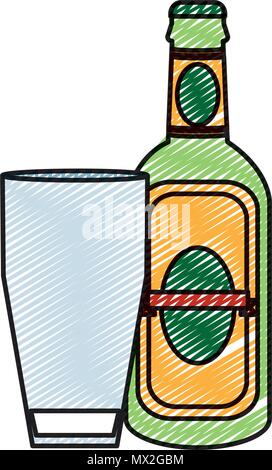 doodle schnapps liquor bottle beverage with glass - Stock Photo