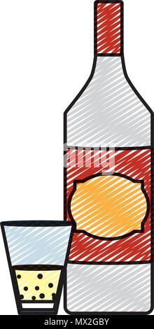 doodle schnapps liquor bottle and glass beverage - Stock Photo