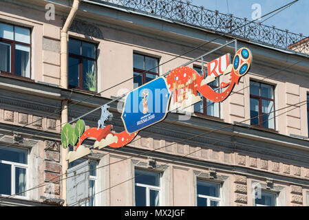 ST PETERSBURG, RUSSIA - 02 JUNE, 2018 Zoom picture of official symbol of the 2018 FIFA World Cup in St. Petersburg, Russia - Stock Photo