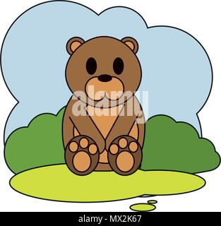 color cute bear wild animal in the landscape - Stock Photo