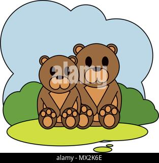 color couple bear wild animal in the landscape - Stock Photo