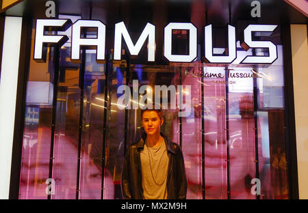 Bangkok, Thailand - Apr 20, 2018. A waxwork of Justin Bieber on display at Madame Tussauds in Bangkok Thailand. - Stock Photo