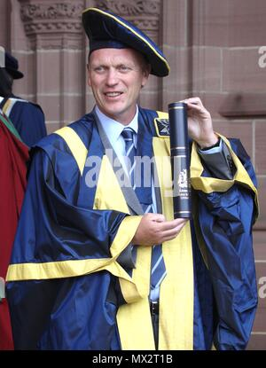 Liverpool.uk, Ex everton manager David Moyes recieves degree for services to sport, credit Ian Fairbrother/Alamy stock photos - Stock Photo