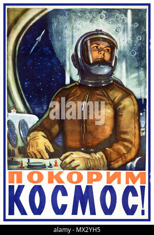 1960's Female Astronaut Cosmonaut Vintage Soviet Propaganda Poster USSR space exploration poster from 1960's featuring a female astronaut...'Conquering Space!' - Stock Photo