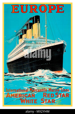 1900's Vintage cruise ship liner travel poster Europe American Red Star White Star cruise line RMS Olympic by Fred J Hoertz - Stock Photo