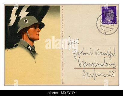 Vintage WW2 Propaganda Waffen SS soldier illustration Postcard 1940's with franked stamp of Adolf Hitler Deutches Reich