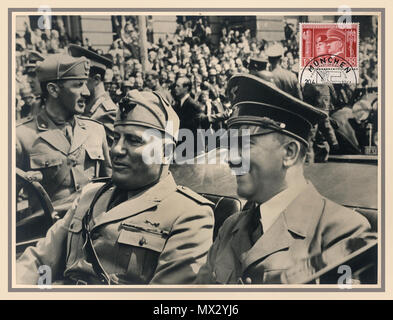 Vintage 1940 German popular sepia postcard with special commemorative stamp Benito Mussolini and Adolf Hitler in open Mercedes Car Munich,Germany June 1940 during WW2 - Stock Photo