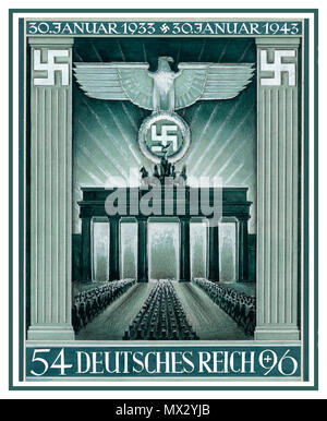 Vintage German Nazi prepared stamp artwork propaganda Brandenburg Gate Berlin Nazi Germany 10th anniversary of the Nazi takeover by Hitler 1933-1943 artwork for Deutsches Reich commemorative stamp first day of issue Jan 1943 Graphics by G. Klein - Stock Photo