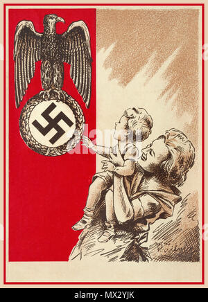 1939 Propaganda Postcard Nazi Germany showing a mother and child with the Fatherland Nazi Eagle and Swastika as a National Guardian Symbol to be revered respected and admired... - Stock Photo