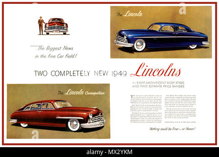 1949 Vintage Luxury American Car advertisement poster ad for The Lincoln and The Lincoln Cosmopolitan automobile motorcar 'the biggest news in the fine car field' - Stock Photo