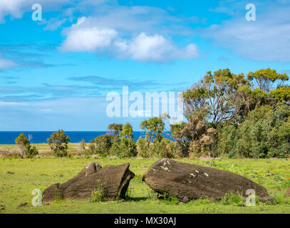 Tongariki Moai, largest reconstructed Ahu, with pacific Ocean backdrop, Easter Island, Rapa Nui, Chile - Stock Photo