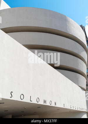 New York City, USA - April 2018: the Guggenheim Museum at Central Park - Stock Photo