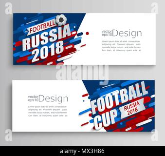 Set of two modern cards of a football cup 2018 on dynamic background. For the soccer championship.Perfect for design cards, invitations, gift cards, flyers, brochures, banners, templates. Vector. - Stock Photo
