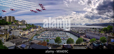 GB - DEVON: Red Arrows Team of the Royal Airforce above Torbay with Torbay harbour in foreground - 02 June 2018 - Stock Photo