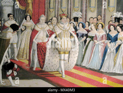 .  English: Engraving of the anointing of Christian VIII and Caroline Amalia in 1840. . 1840 48 Anointing of Christian VIII 1840 - Stock Photo
