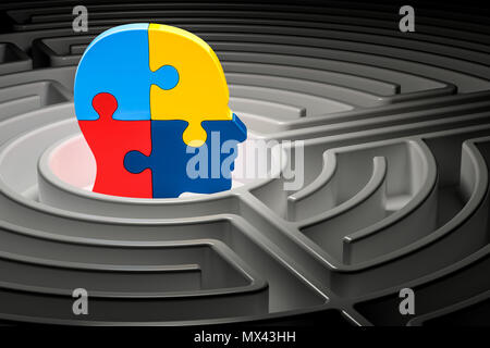 Autism concept, human head from puzzles at center of a maze. 3D rendering - Stock Photo