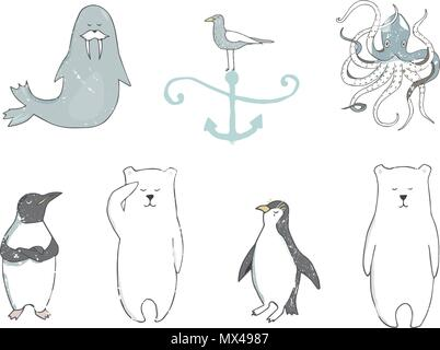 Polar bear clip art color texture character drawing illustration element iceberg sea ocean life wildlife funny face smile winter hands on white backgr - Stock Photo