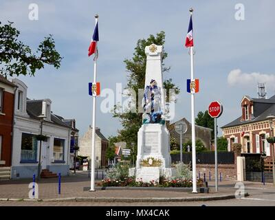 War memorial in center of town. Le Crotoy, France - Stock Photo
