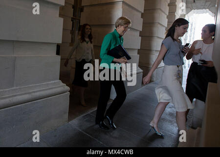 Senator Elizabeth Warren (D-MA) departs the U.S. Capitol after a closed senate briefing by Deputy Attorney General Rod Rosenstein. - Stock Photo