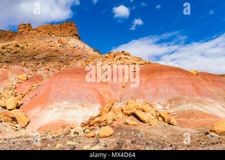 Colorful soils and rock formations near Wolverine Creek along the Wolverine Loop Road in Grand Staircase-Escalante National Monument, Utah USA. - Stock Photo