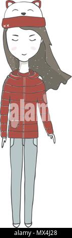 A girl in a sweater teacher in, jeans autumn clothing with long hair family person school baby student winter travel woman character drawing full-leng - Stock Photo