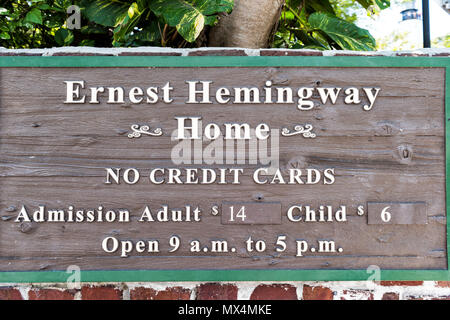 Key West, USA - May 1, 2018: Ernest Hemingway house sign famous entrance with admission costs, no credit cards closeup in Florida island - Stock Photo