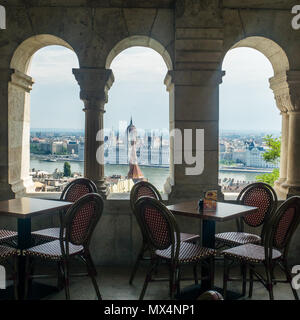View from Fishermans Bastion (a terrace on the Buda side) over the River Danube towards the Hungarian Parliament building, Budapest, Hungary. - Stock Photo