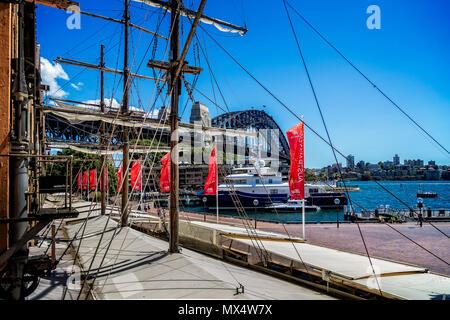 Sydney Harbour Bridge from The Rocks in  Sydney, NSW, Australia taken on 7 January 2015 - Stock Photo