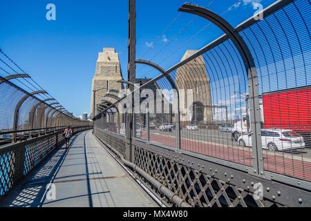 Sydney Harbour Bridge walk way and traffic taken in Sydney, NSW< Australia on 7 January 2015 - Stock Photo