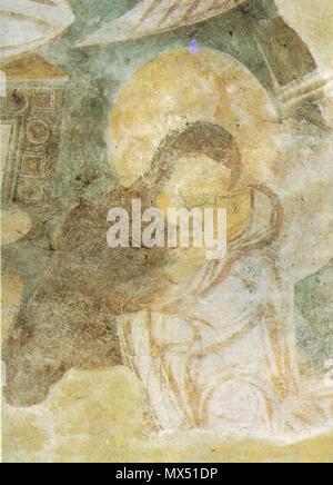 80 Benevento, chiesa di santa sofia, visitazione (particolare) affresco fine VIII inizio IX secolo - Stock Photo