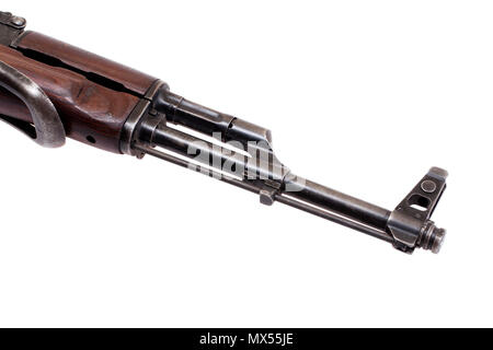Close up view Kalashnikov barrel on white - Stock Photo