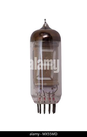 Vacuum electronic radio tubes isolated on white background - Stock Photo