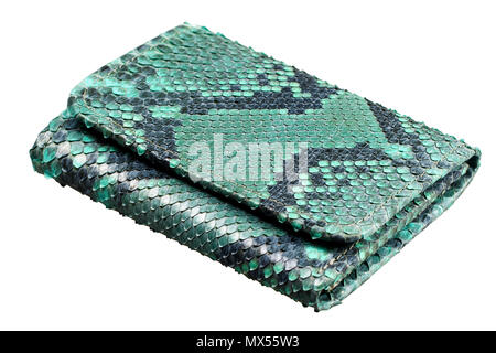 Snake leather wallet isolated on a white background - Stock Photo