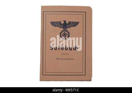 German Army soldiers document World War II period isolated on a white background - Stock Photo