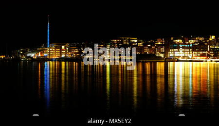 These pictures are of Oslo harbour at night in December, they include the area Aker Brygge - Stock Photo