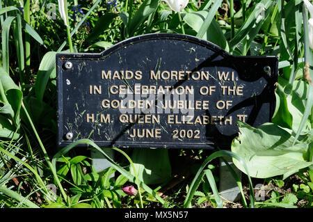 WI Golden Jubilee of Queen Elizabeth II garden in churchyard of St Edmunds Church, Maids Moreton, Buckinghamshire - Stock Photo