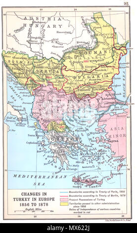 . 'Changes in Turkey-in-Europe 1856 to 1878', map showing the territorial changes in the Balkans between the Crimean War and Serbian–Ottoman War (1876–78). Work by J. G. Bartholomew dating to 1912. 1912. J. G. Bartholomew 122 Changes in Turkey-in-Europe 1856 to 1878 - Stock Photo